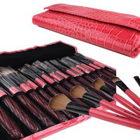 Bundle Monster 15pc Studio Pro Makeup Make Up Cosmetic Brush Set Kit w/ Pink Faux Crocodile Case -