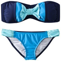 Target : Juniors 2-Piece Bikini Swimsuit with Bow - Navy Blue/Blue : Image Zoom
