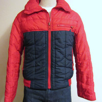 Vintage Awesome 70s WINTER PUFFY SKI Red Navy Blue Unisex Warm Stylish Hip Zip Small Medium Jacket