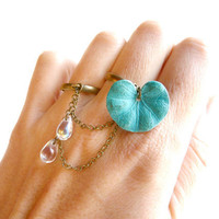 Enchanting verdigris water lily double ring by liliFunambule