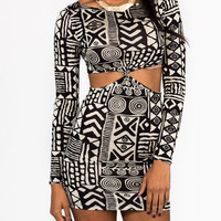tribal-printed-cut-out-dress BLACKKHAKI BLACKWHITE - GoJane.com