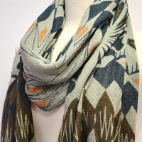 Aztec Tribal Western Geometric Print Shawl Scarf Knitted Wrap Abstract Wide Gift Idea