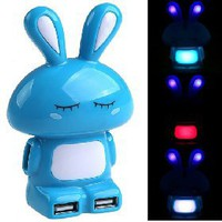 Cute Bunny Rabbit Shaped USB 2.0 High Speed 4-Port Hub Adapter with Multi Color Light for PC Laptop Color Assorted [4513] - US$4.29 - China Electronics Wholesale - FlyDolphin.com