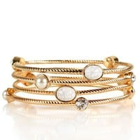 Gold Stone and Pearl Bracelets