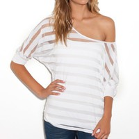 G by GUESS Mason Mesh Striped Dolman Top
