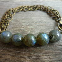 Labradorite Gemstone beads & Mixed Chains Bracelet by AstralEYE