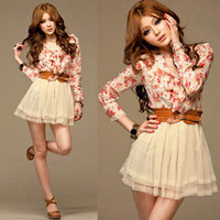 Women Chiffon Floral Bowtie Tunic Tulle Mini Dress
