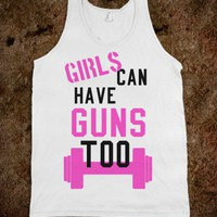Girls can have guns too! (Tank)-Unisex White Tank