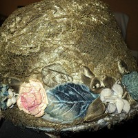 Antique Metallic Lace Hat with Antique French Ribbonwork Flowers with velvet and Lame