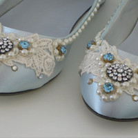 Something Blue Bridal Ballet Flats by BeholdenBridal on Etsy