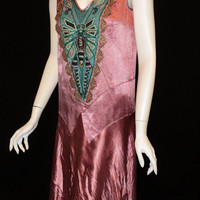 1920's dragonfly flapper party dress Bellasoiree Original design all antique trims and appliques