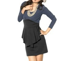 Allegra K Women Scoop Neck Long Sleeve Stretchy Mini Dress Blue Black XS
