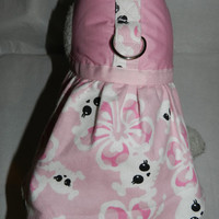 Pink HAWAIIAN Hibiscus Girlie Goth SKULL Harness Dress. Perfect Item for your Cat, Dog or Ferret. All Items Are Custom Made For Your Pet.