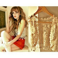 Vintage Crochet Vest - Tops - Retro, Indie and Unique Fashion