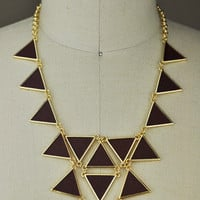 Vegan Leather Triangle Necklace - JONDIE