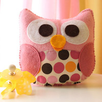Miss Isabella The Owl Cute Plush Toy by dropsofcolorshop on Etsy