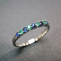 Blue Sapphire And Emerald Wedding R.. on Luulla