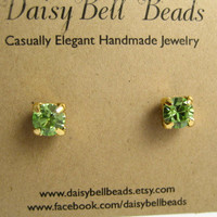 "Magnetic Swarovski Stud Earrings for Men & Women - ""Attraction - Peridot"" Handmade by DaisyBell Beads"