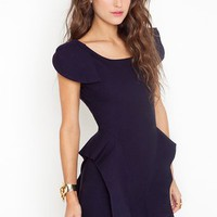 Victoria Peplum Dress - Navy in What&#x27;s New at Nasty Gal