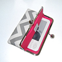 "Unique iPad mini and eReader / Kindle / Sony / Nook Clutch Case ""Chevron Ash Gray"""