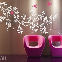 Free Shipping -Wall Decal  Wall Sticker Branch  with birds  Decal 039