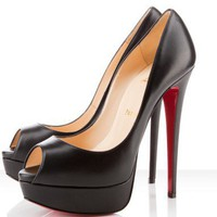 Christian Louboutin Lady Peep 150mm Black Pumps