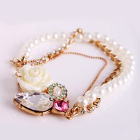 Unique Gold tone Chain Rose Pearl Beaded Strand Bracelet at online fashion jewelry store Gofavor