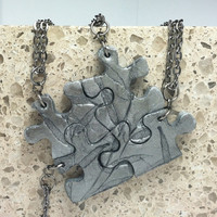 Puzzle Necklace Polymer Clay Friendship Jewelry Set of 4 Necklaces Leaves Set 98