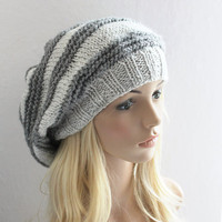 Grey Striped Baggy Beanie Slouchy Hat