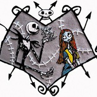 Disney Nightmare Before Christmas Jack in Love Embroidered Iron On Movie Patch DS-26