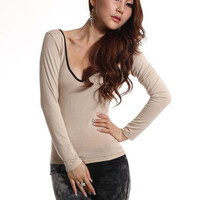 Apricot Drawstring Girls Deep V-neck T-shirts : Wholesaleclothing4u.com