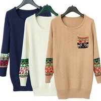 Christmas snowflake deer pullover sweater