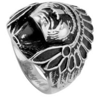 Chief Indian Head Ring - Native American - Biker Rings for men - Motorcyle gear jewelry. Chopper Me