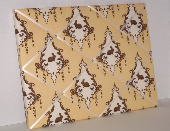 Yellow &amp; Brown Bunny Damask Toile fabric ~ Nursery Memo Board by ToileChicBoutique