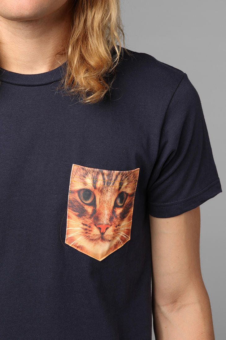 Cat pocket tee navy from urban outfitters love for Lucky cat shirt urban outfitters