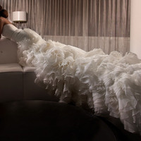 Ruffled organza wedding dress, 157701
