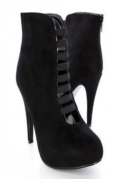 Black Faux Suede Elastic Straps Bootie Platform heels @ Amiclubwear Boots Catalog:women's winter boots,leather thigh high boots,black platform knee high boots,over the knee boots,Go Go boots,cowgirl boots,gladiator boots,womens dress boots,skirt boots,pin