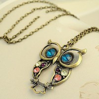 Vintage Owl Pendant Necklace Jewelry