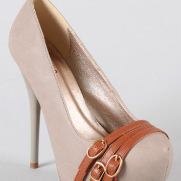 Qupid Neutral-98 Strapped Stiletto Pump