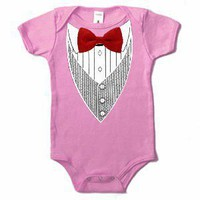 Pink Baby Tuxedo Onesuit