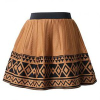 Khaki Aztec Tribal Pattern Skater Skirt