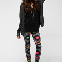 Party Rock Aztec Leggings in Grey :: tobi