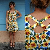 1990s. sunflower dress with tiered skirt &amp; criss cross back. m-l