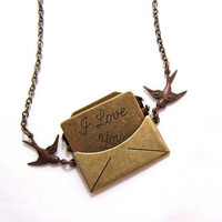 I Love You Envelope Locket Antiqued Brass Necklace by CuteAbility