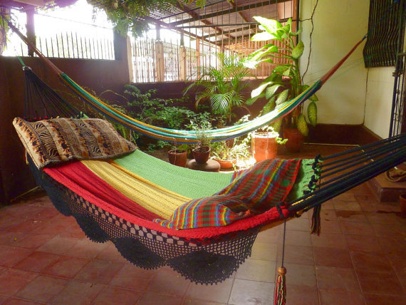 Rastafari Colors One Double Hammock handwoven Natural by hamanica