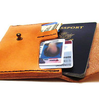 Leather Passport Wallet, Passport Cover, Small Wallet, Made in USA