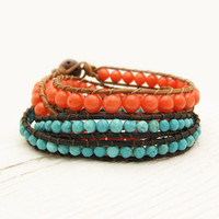 Tangerine Coral & Turquoise Wrap Bracelet Set / boho bohemian tribal ethnic orange blue / bright colorful stacking