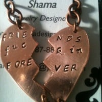 Mature content ...BFF Best friends forever sterling silver hand stamped pendant custom personalized