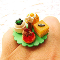Kawaii Cake Ring Miniature Food Jewelry Cake B by SouZouCreations