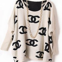 Chanel Inspired Logo Sweater